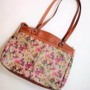 Patricia Nash Floral Poppy Tote Purse Large Tan